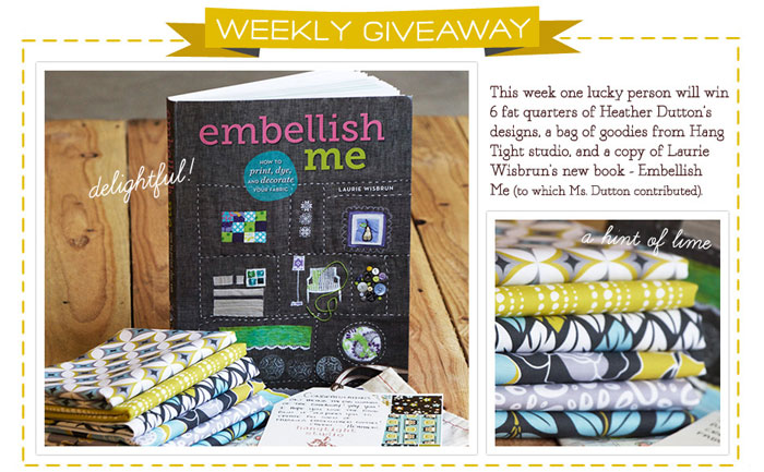 Embellish Me Book and Heather Dutton Fat Quarter Bundle Giveaway